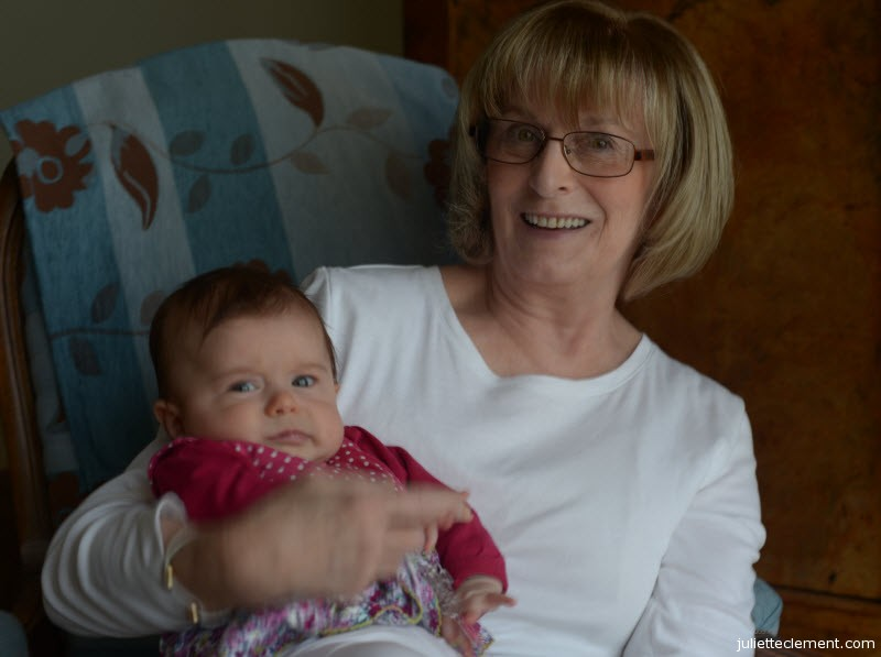Juliette's a little unsure, but Grandmom sure is happy to meet her!