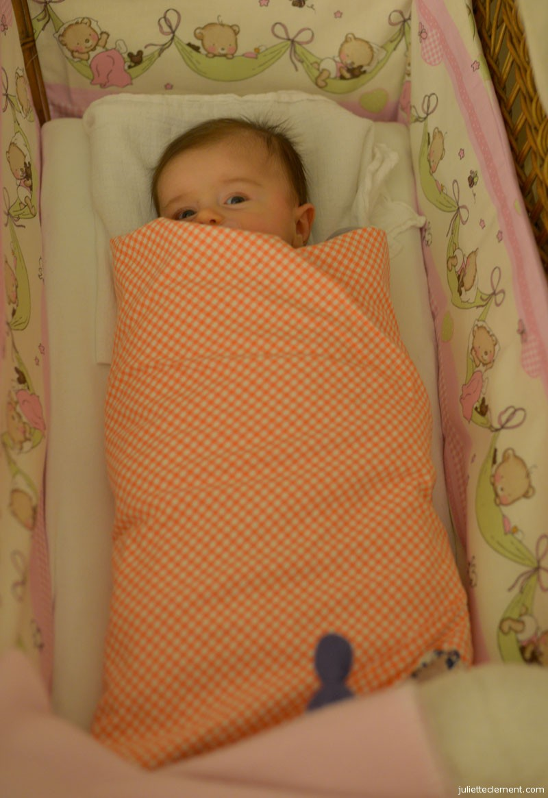 All swaddled and ready for a full night of sleep.