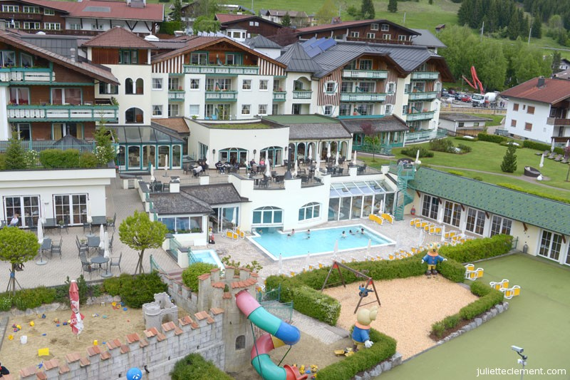 Overlooking the center of the hotel, with the heated indoor-outdoor pool and jacuzzi.