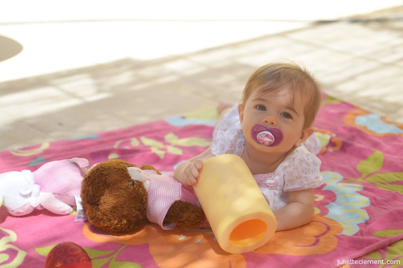 Pre-loved toys are great.  Juliette loved playing with Aude's old teddy bear.