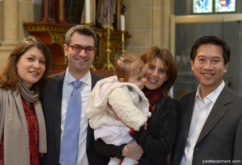 Juliette with her parents and godparents