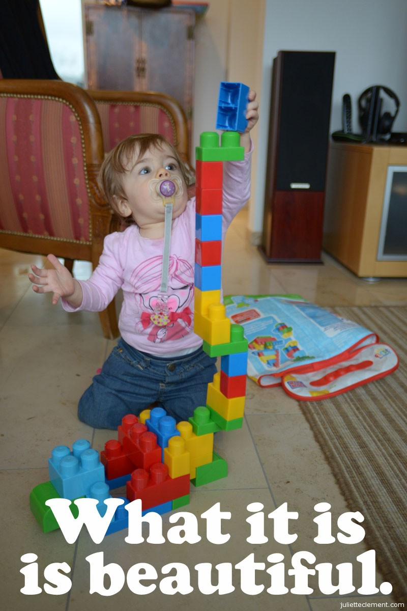 33 years after the original ad, kids love Legos just as much as they ever did.  Juliette loves building towers most of all.