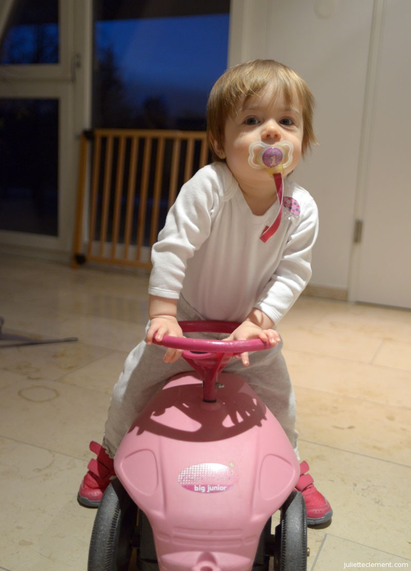 Juliette's discovered a great way to scoot around