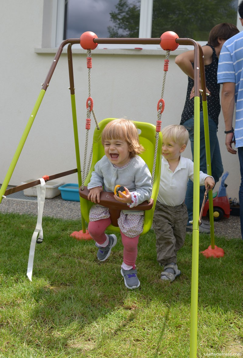 "Juliette is having a fantastic time on Remi's swing.  ""Higher, Remi, higher!!!"""