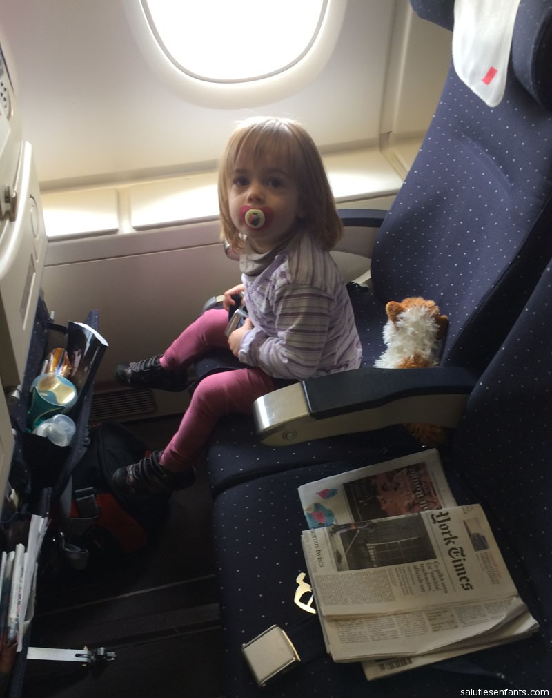 Juliette all settled into her seat for her first flight on the A380