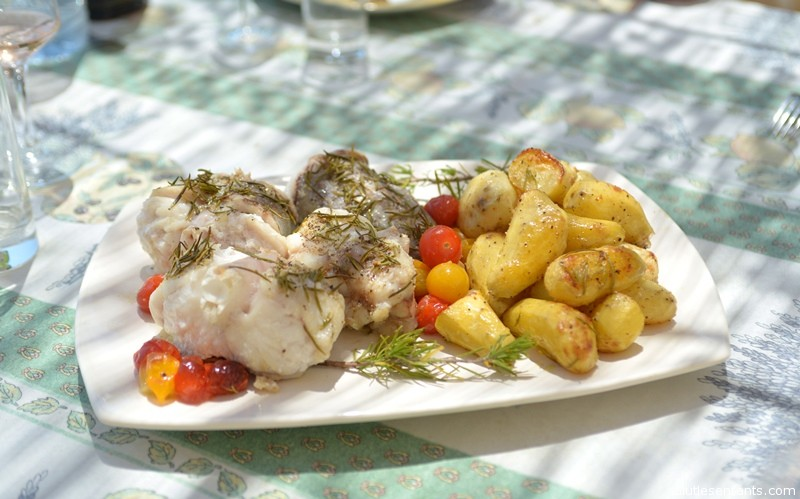 """Mathieu, would you mind cooking lunch?"" asked Sylvette. ""No problem,"" answered Matthew. ""How about monkfish with rosemary from your garden, mixed cherry tomatoes, and roasted potatoes?"" ""Ca marche,"" said Sylvette."