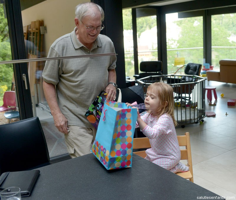 Grandpa remembered to bring something for Juliette, too