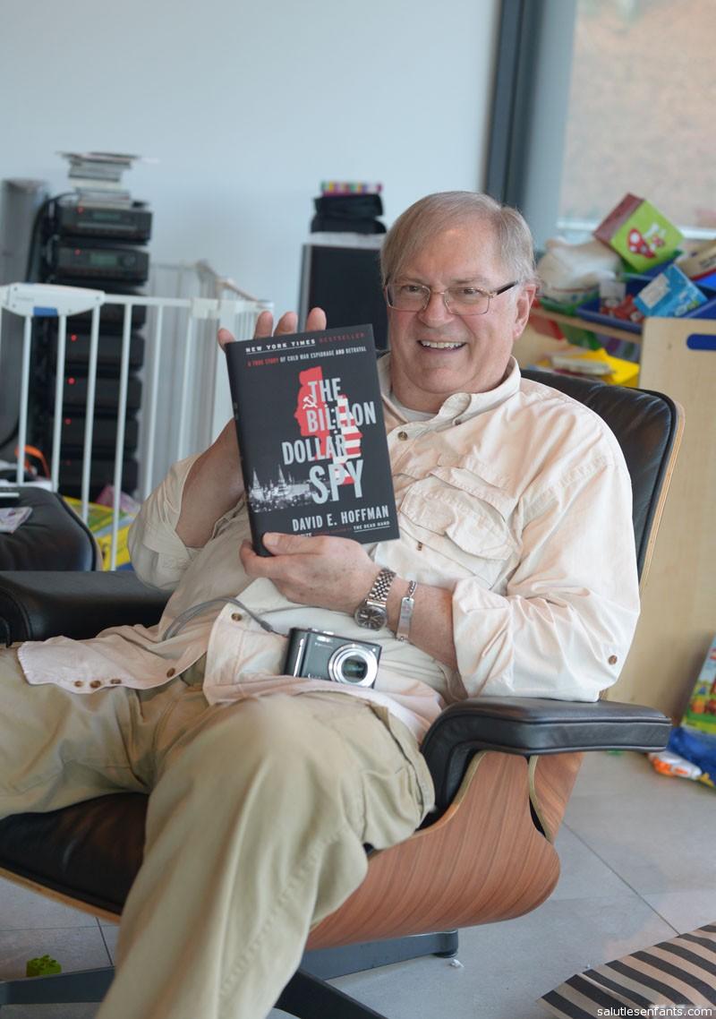 Grandpa shows off his new book