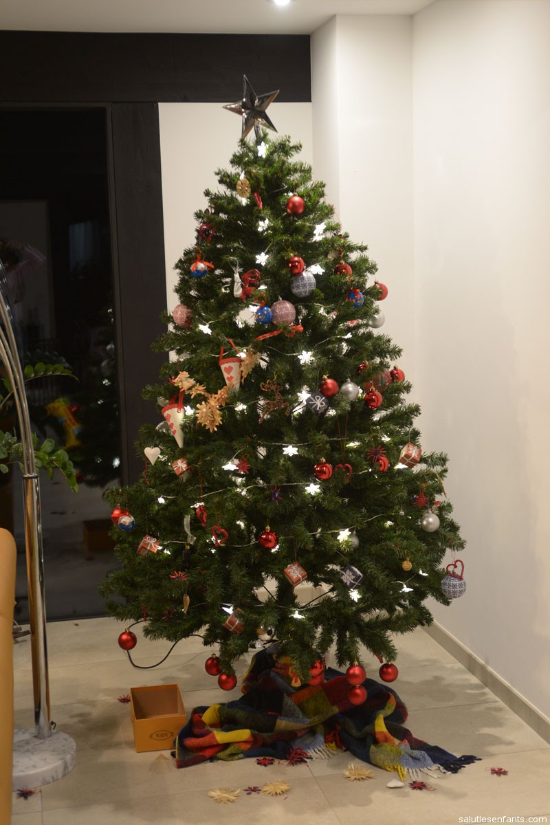 The finished tree -- a little bottom-heavy, but everyone had a good time!