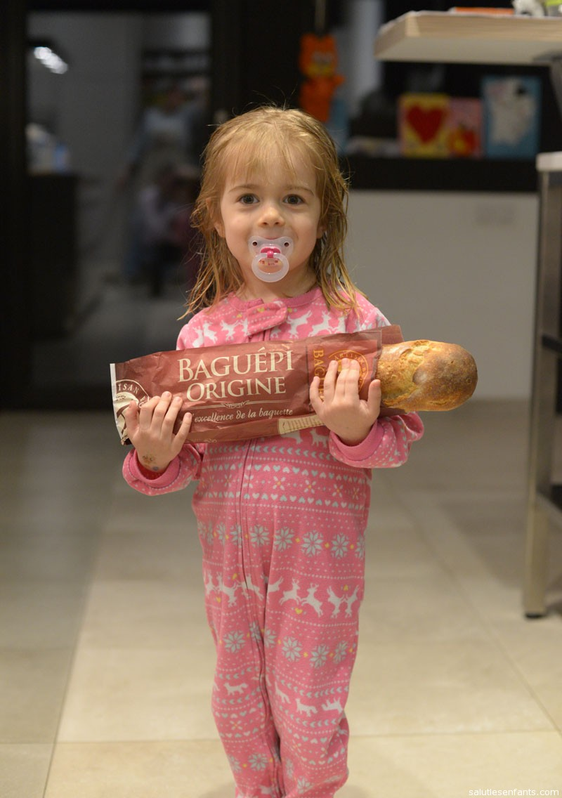Our proud little baker with her first baguette