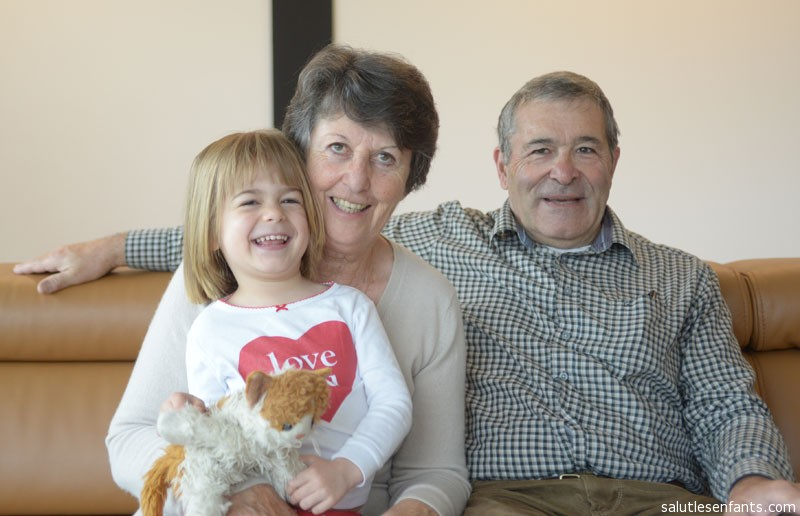 Juliette with her grandparents