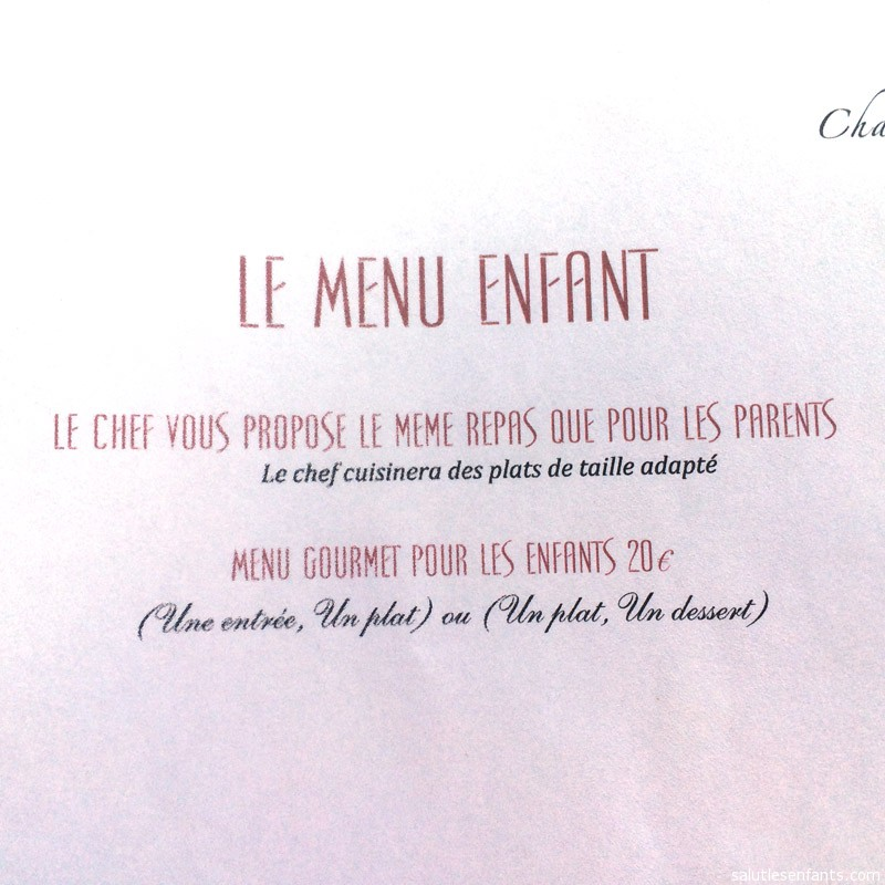 A typical 'kids menu' in France